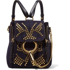 Chloe Mini Faye Studded Leather Backpack NWT blue